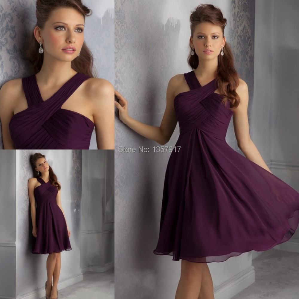 Popular purple bridesmaid dress girls buy cheap purple bridesmaid dark purple cross pleated halter chiffon beach short bridesmaid dresses girls brides maid dress free shipping ombrellifo Images