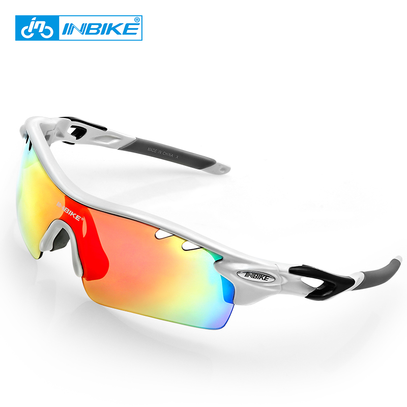 INBIKE Polarized Cycling Glasses Sunglasses Bicycle Glasses Bike Sunglasses Eyewear 4 Frame 5 Lens Goggles UV Proof 911 two tone frame round lens sunglasses