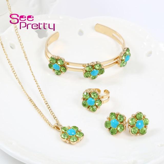 9bfec1ddb7ef WesternRain joyería al por mayor China Oro encanto precioso niños y  adolescente Rosa verde colgantes collar