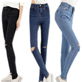 Hot Sale Hole Ripped Jeans Woman Vintage Elasticity High Waist Skinny Jeans Women Pencil Denim Pants Jeans Femme Mujer Plus Size