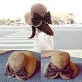 (4 цветов) Мода Шляпа Солнца Лета женщин Gorras Солнцезащитный Крем Bowknots Складная Соломенные Шляпы Для Женщин Пляж Головные Уборы высочайшее Качество