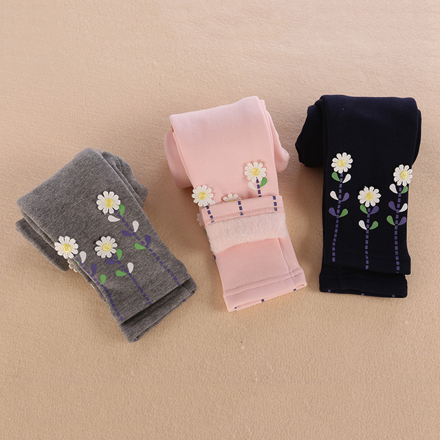 6d42376c08e63 Kids Girls Plush Velvet Pants Spring Children'S Baby Cotton Warming  Trousers Infant Fashion Leggings With Flowers
