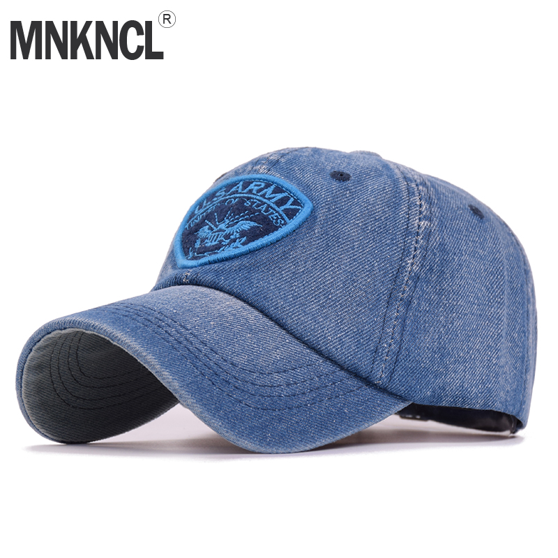 MNKNCL 2018 New High Quality Demin Baseball Cap U.S ARMY Embroidery Hip Hop Hat For Men Women Snapback Caps cntang brand summer lace hat cotton baseball cap for women breathable mesh girls snapback hip hop fashion female caps adjustable