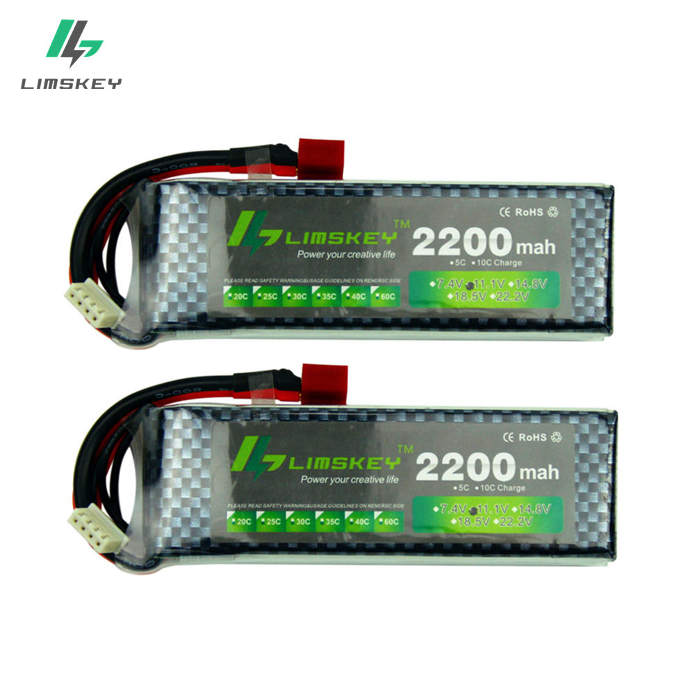 Limskey Power Brand New <font><b>Lipo</b></font> Battery 11.1V <font><b>2200</b></font> <font><b>mAh</b></font> 25C MAX 35C <font><b>3S</b></font> T Plug for RC Car Airplane T-REX 450 Helicopter Part 2PCS/LOT image