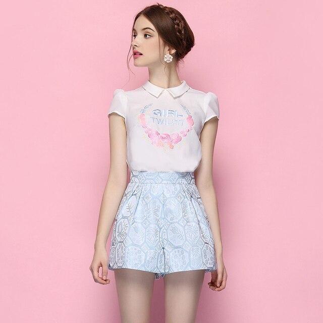 Nuevas llegadas forman mujeres del estilo del verano fija camisa + cortocircuitos 2 unidades set vestido mujeres vestido superior andshorts set S-XL