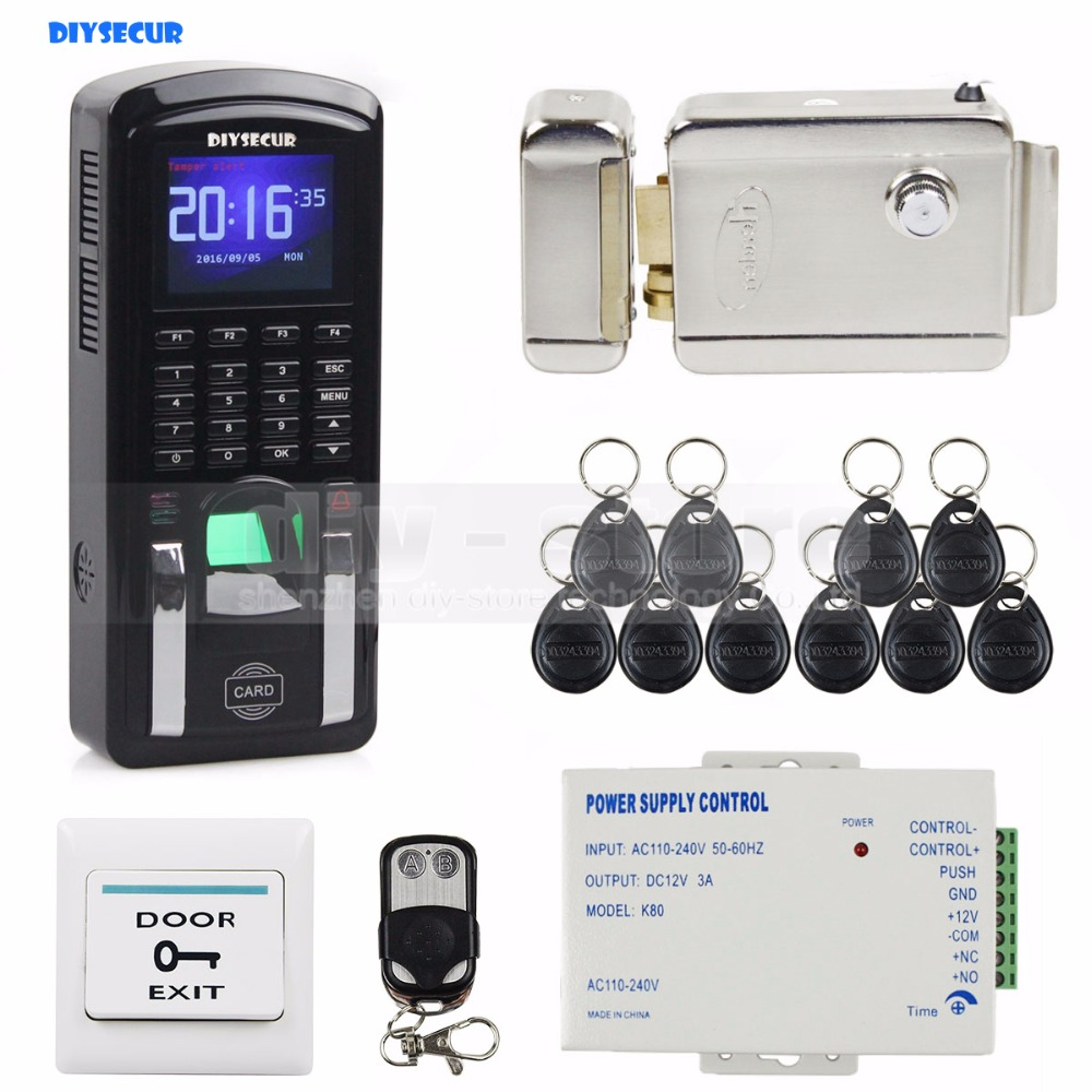 DIYSECUR Fingerprint 125KHz RFID Reader Password Keypad + Electric Lock Door Access Control System Kit for Office / House diysecur electric lock waterproof 125khz rfid reader password keypad door access control security system door lock kit w4