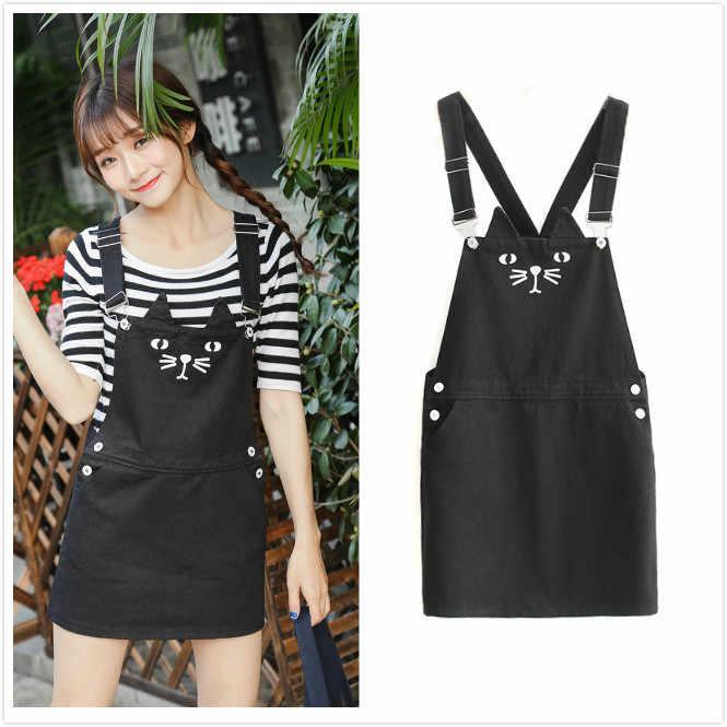 6ca0adab2f 2019 Kawaii Women Cute Cat Suspender Denim Dress Loose Jeans Preppy Style  Sundress Overall Romper Playsuit