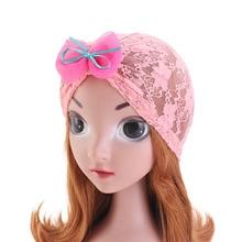 цена на New Kids Lace bow Turban Headwear Children Hijab Turbante Hat Baby Beanies head wrap Hair Band Accessories