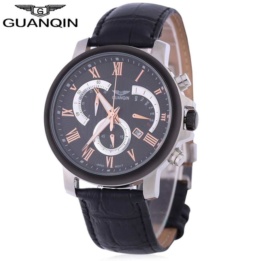 GUANQIN Men Quartz Watch Luminous Calendar Roman Numerals Scale Chronograph Wristwatch цена 2017
