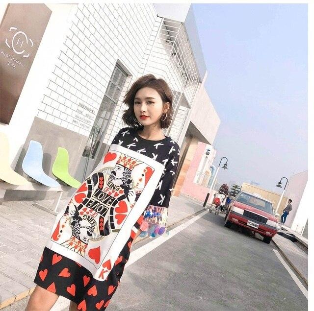 87928dcdac6 Women High Street Cartoon Poker Print T-Shirt Dress Sequins Short Sleeve  Summer Dress Plus