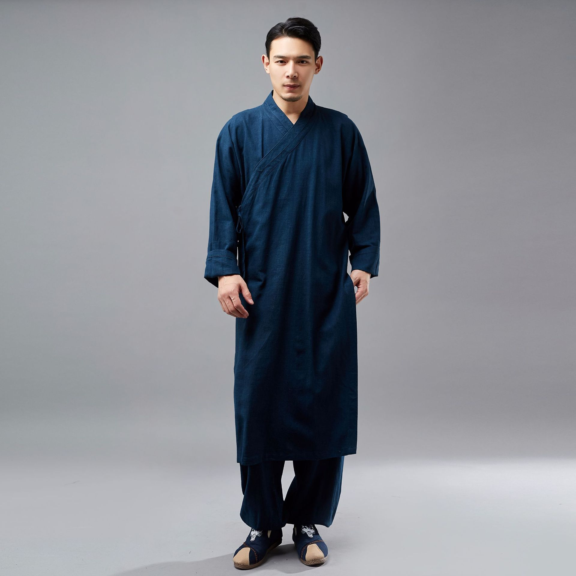 Traditional chinese clothing for men new style Linen vintage robe pubilc of China buddhist clothing Chinoiserie zen clothing Одежда