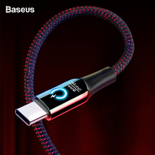 Baseus 3A Smart Power Off USB Type C Cable With LED Qick Charger 3.0 Type-c Cable For Samsung S9 Note 9 One plus 6 5T Data Cord