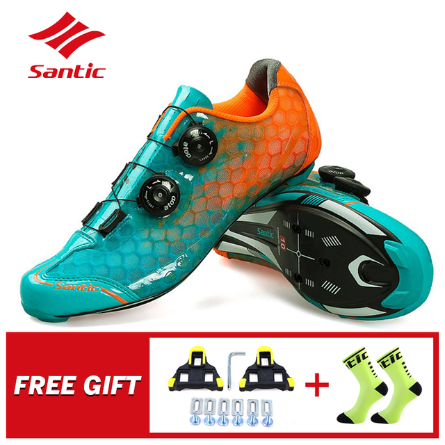 Santic Carbon Fiber Men Cycling Shoes Road Bike Self locking Professional Competition Ultralight PRO Racing Team Bicycle Shoes