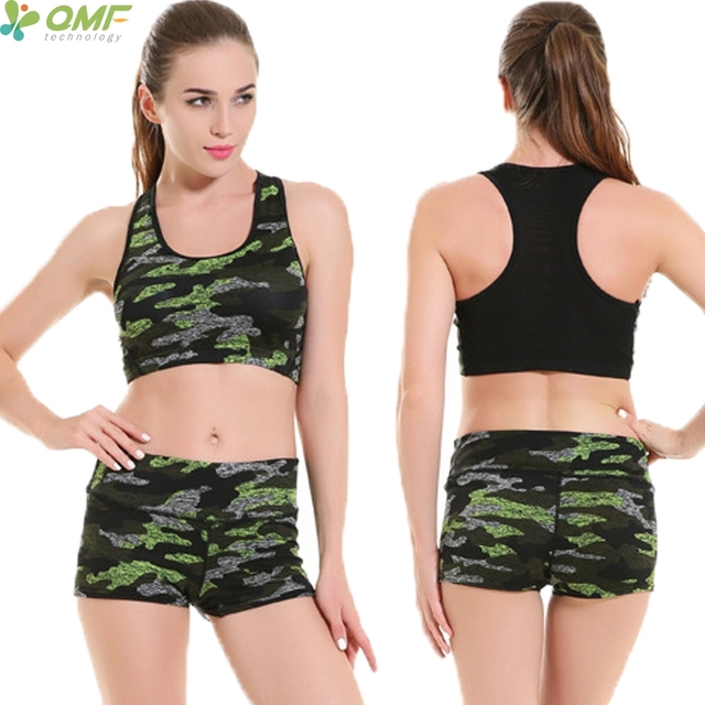 32335f6051b77 Green Camo Yoga Sets Women Sports Bra Padded + Shorts Sets Black ARMY GREEN Camouflage  Running Suits Short Pants Clothing 2 pcs