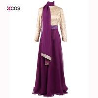 2015 Muslim Evening Dresses A Line Long Sleeves Purple Embroidery Hijab Islamic Dubai Abaya Kaftan Long