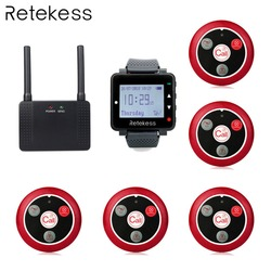 Retekess Wireless Calling System T128 Watch Receiver + T117 Four-key + Wireless Repeater Transmitter Button Restaurant Pager