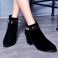 Black Suede Thick High Heels Martin Boots With Belt Buckle 2016 Winter Newest Fashion Elegant Discount Hot Sale Women Booties