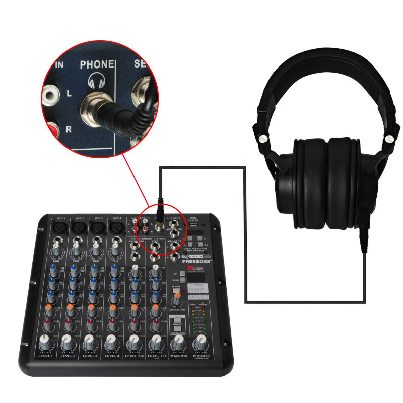 Freeboss MDH9000 Monitor Headphones with 50mm Drivers Single-side Detachable cable RMV8 DJ Mixer Audio Mixer magnit rmv 1802