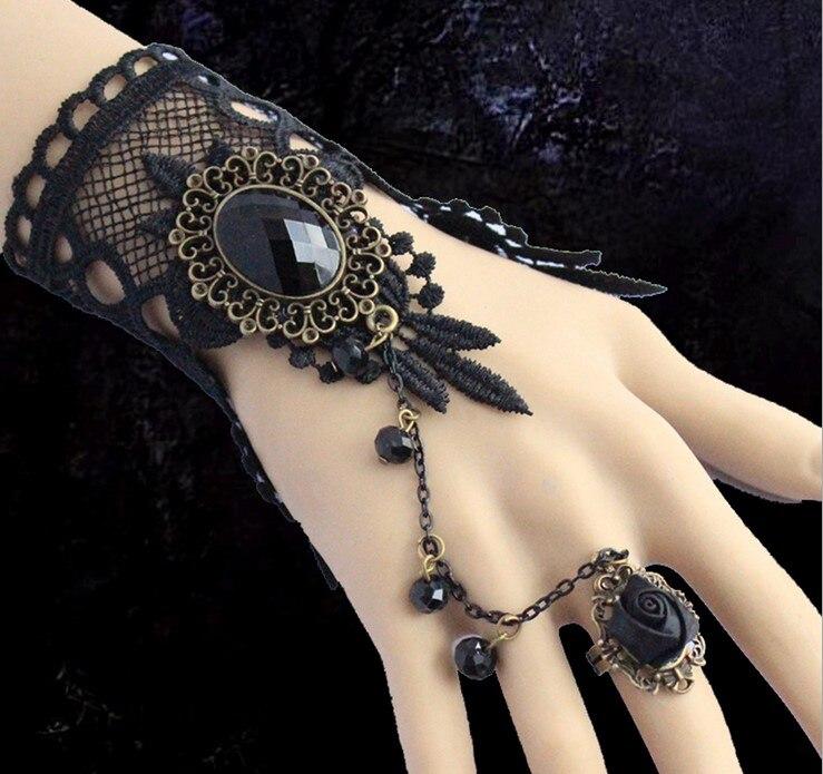 Legierung Ring/braut Armband 1143 Neue Ankunft Vintage Schwarze Spitze Blumen Fingerlose Brauthandschuhe Brauthandschuhe
