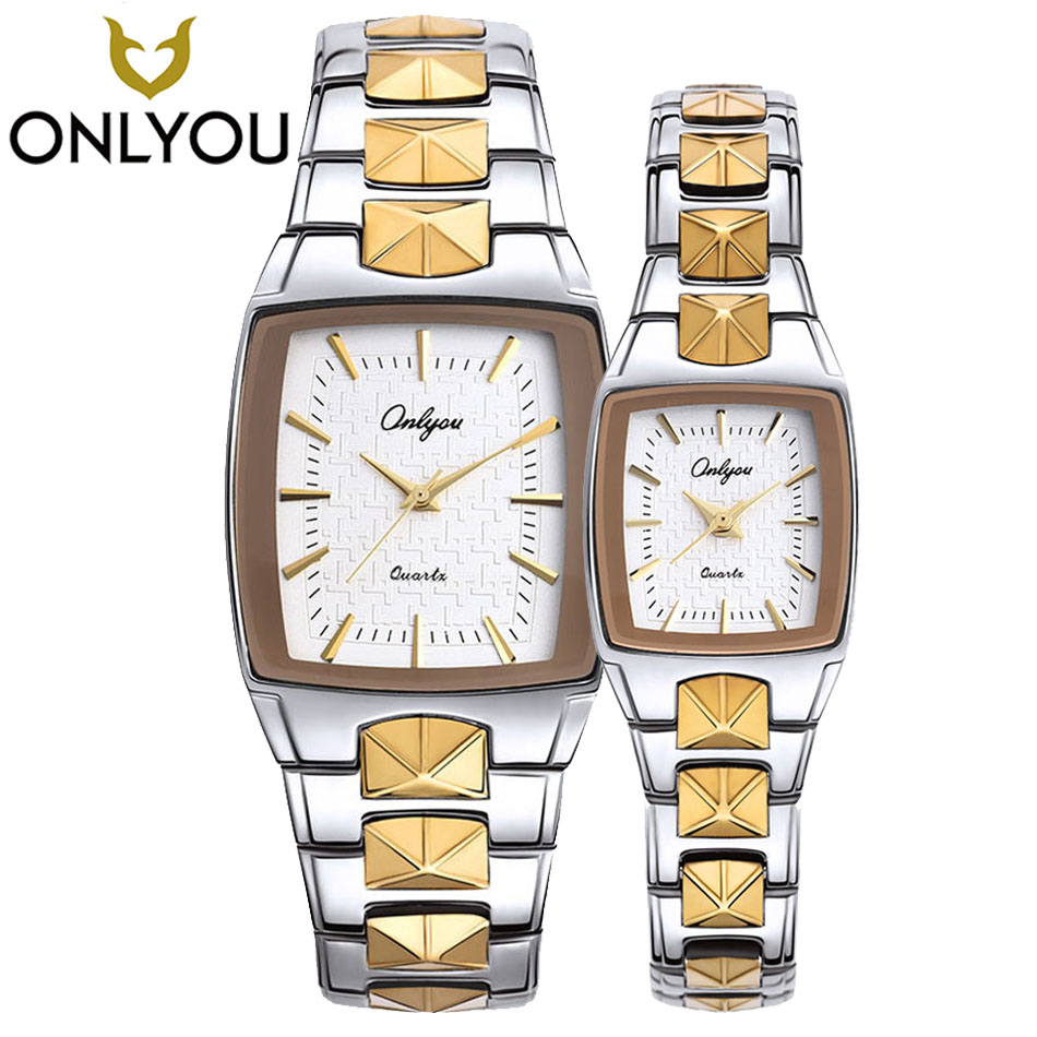 цена ONLYOU Lovers Quartz Watch Women Brand Luxury Square Clock Men Stainless Steel Gold Strap Creative Wristwatch Elegant Braclect