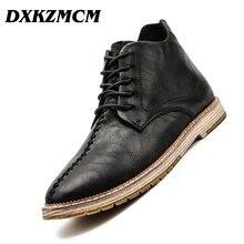 DXKZMCM Autumn Winter Men Boots Big Size 38-47 Vintage Style Men Shoes Casual Fashion Ankle Boot