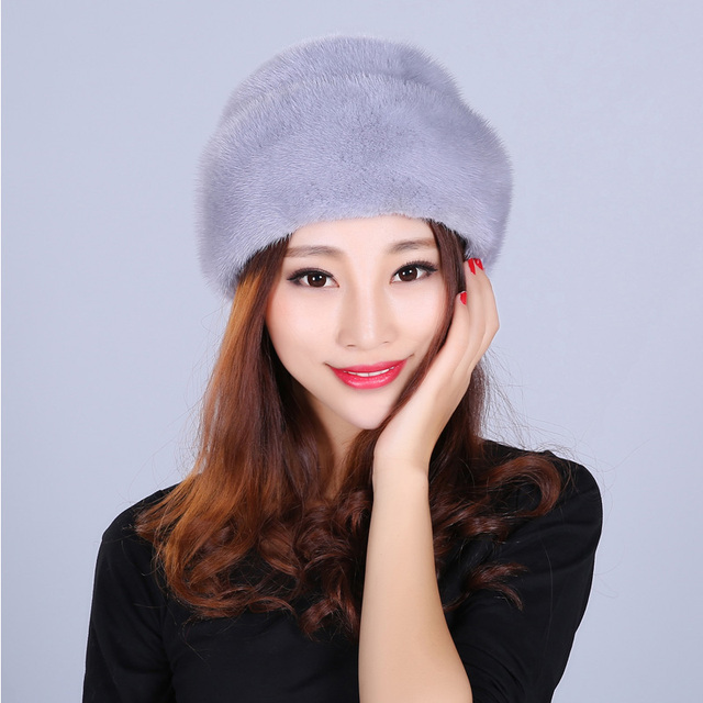 Fashion Fur Hat For Women Solid Real Mink Fur Casual Style Fur Lovely New Caps Beanies Female Winter Hats Russian Beanies
