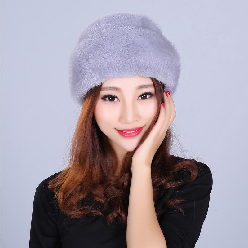 Mode fourrure chapeau pour femmes solide réel vison fourrure Style décontracté fourrure belle nouvelles casquettes bonnets femme hiver chapeaux russe bonnets - 1