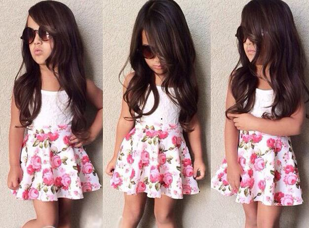 SQ209  2017 new fashion girls skirt set children dress set  white flower vest+skirt  girl loose-fitting dress girls dress retail
