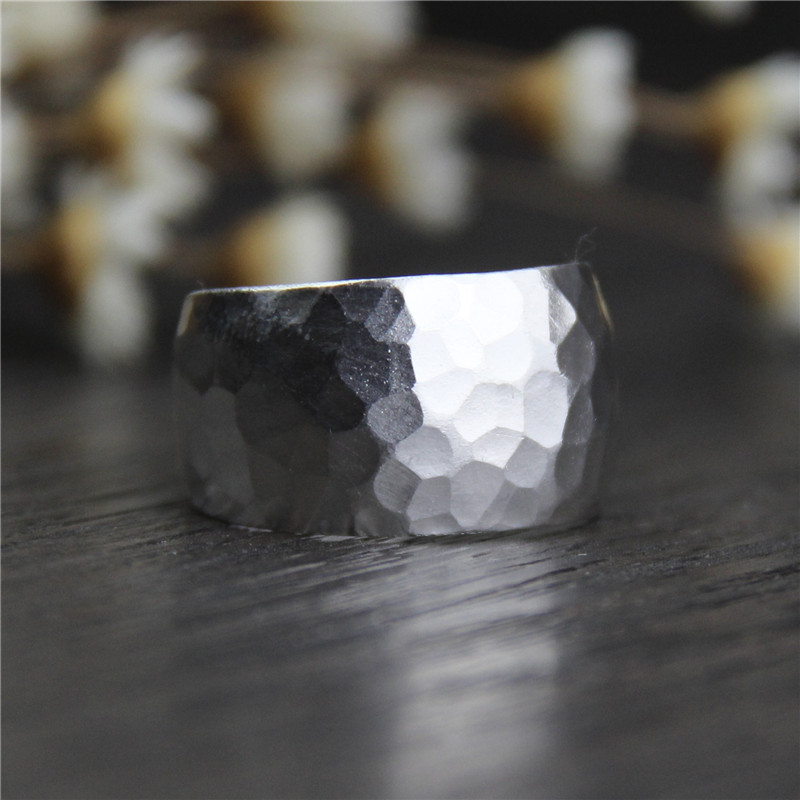 Silver Jewelry Thailand Chiang Mai Handmade Silver S999 Sterling Silver Wide Version Ring Ladies Models Silverware Index Ring