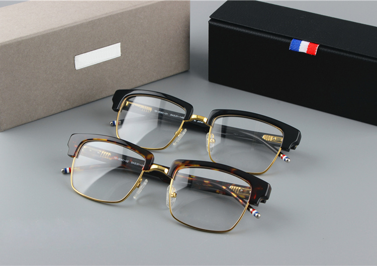 New York brand TB806 Eyeglasses Frames Retro Fashion Style Metal Half - Apparel Accessories