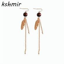 Leaf earrings Long tassels metal chain style restoring ancient ways women fashion jewelry popular ear clip