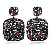 Big Quảng Dangling Earrings Đối Với Phụ Nữ Đen Vàng Màu Thiết Màu Đỏ Cubic Zirconia Wedding Earring Vintage Bijoux Femme