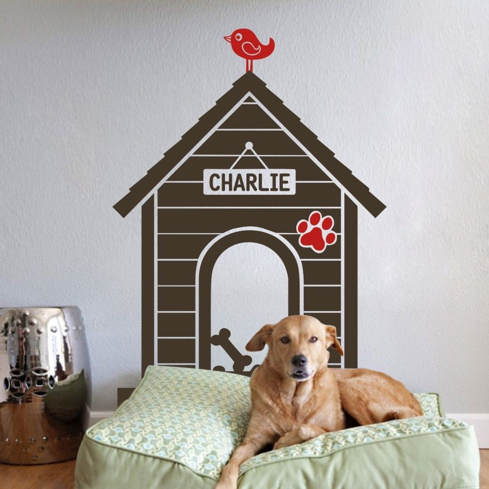 Dog House Wall Sticker Indoor Personalized Name Animal ...