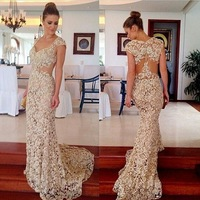 New Cap Sleeve Lace Evening Dresses Long Mermaid V Neck Brush Train Prom  Party Special Occasion ... ff8e64bdad0d