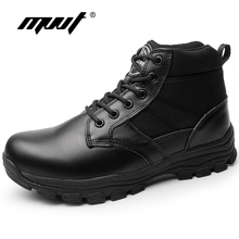 MVVT 2017 New Winter Men Boots Combat Genuine Leather Boots Platform Ankle Boots Waterproof Men Shoes