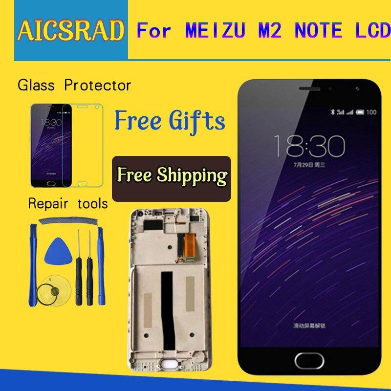 AICSRAD Display LCD + assembléia Tela de Toque Digitador Para Meizu Meilan M571 M2 Nota Celular 5.5 polegada Note2 Com Quadro