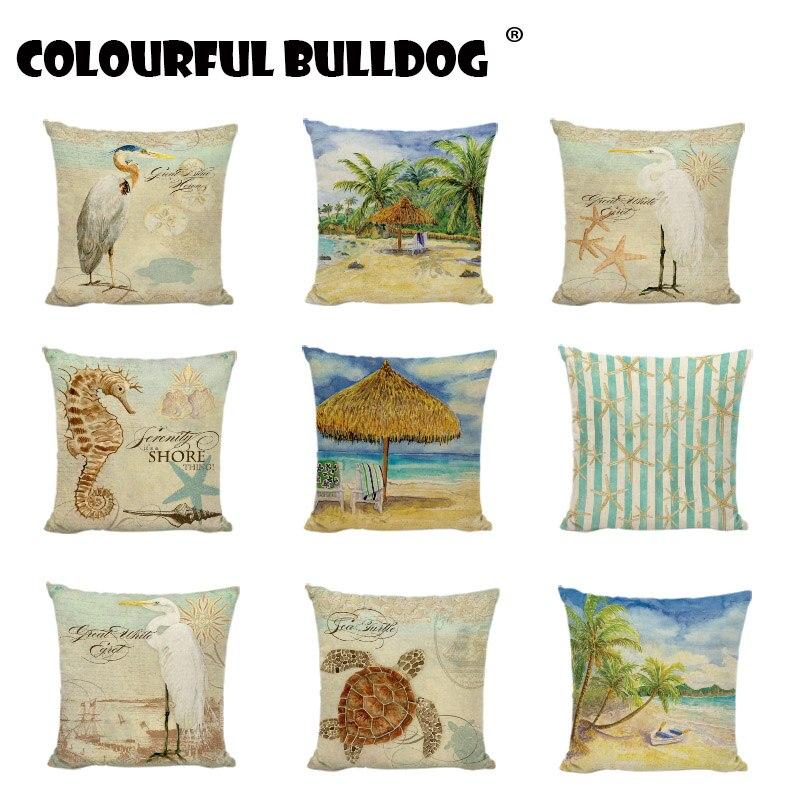 Ocean Beach Cushion Cover Pillowcase Cotton Linen Chair Seat Square Pillow Cover
