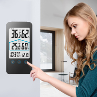 Digital Thermometer Hygrometer Electronic LCD Temperature Humidity Meter Weather Station Indoor Outdoor Clock display time