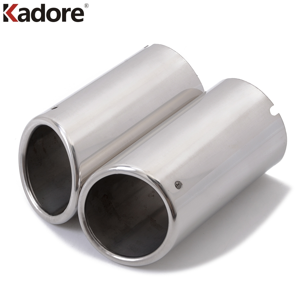 Stainless Steel Exhaust Tail Muffler Tips Exhaust Muffler Car Tail Pipes For VW Touran 2016 2017 Car Accessories Styling 2pcs