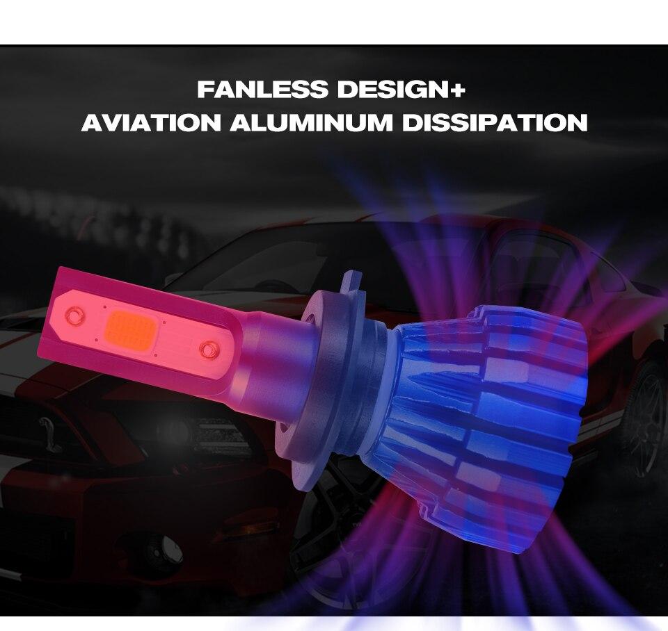 Aceersun 2Pcs 9005 HB3 9006 HB4 H11 H4 H7 Led H1 Auto Car Headlight 72W 8000LM 6500K Automobile Bulb COB CHIP 4300k H3 Fanless (4)