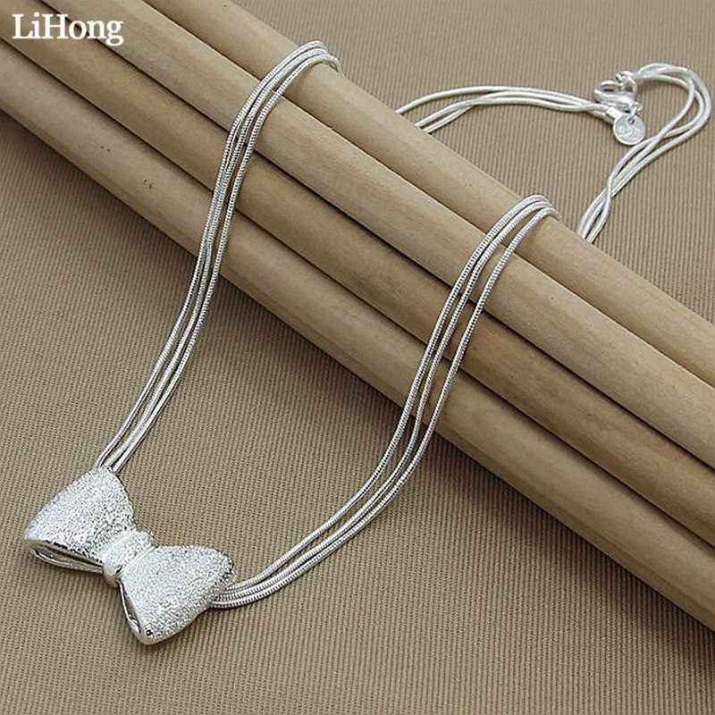2019 Fashion Silver Jewelry Long Necklace Bow Style Ladies Three-Line Snake Bone Chain Charm Jewelry Decoration
