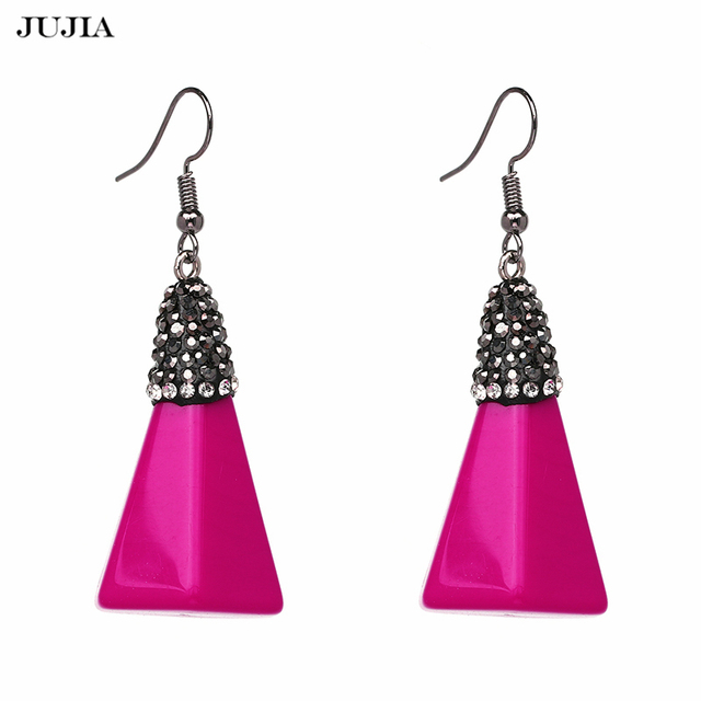 Fashion Hot Pink Triangle Acrylic Dangle Earrings For Lady Bohemian Drop Earring Brincos Boucle D