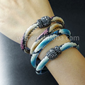 WT-B242 New sale Snake leather double layer bracelet  mix color snake leather charm double layer bracelet  for girl