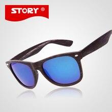 HISTORIA de la Marca gafas de Sol de Madera Moda Original de la Marca Mujeres de Los Hombres de Cristal Del Sol de Madera De Madera De Sol UV400 gafas de Sol Gafas Masculino