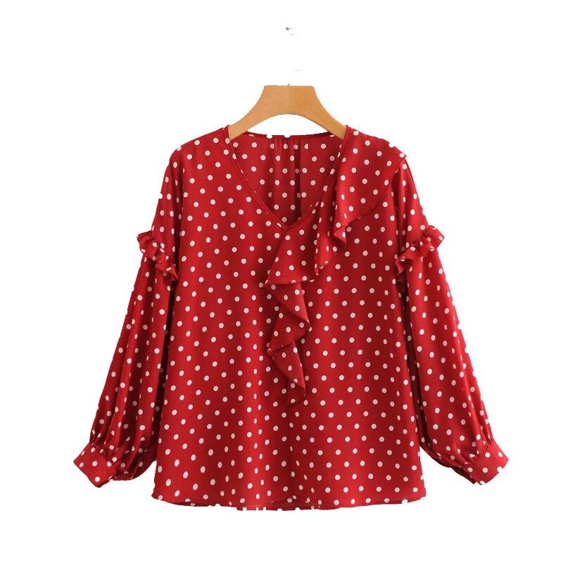 57c382d7e761d CS902 New fashion women polka dot print ruffles v neck long sleeve blouse  ladies red black color retro blouses tops