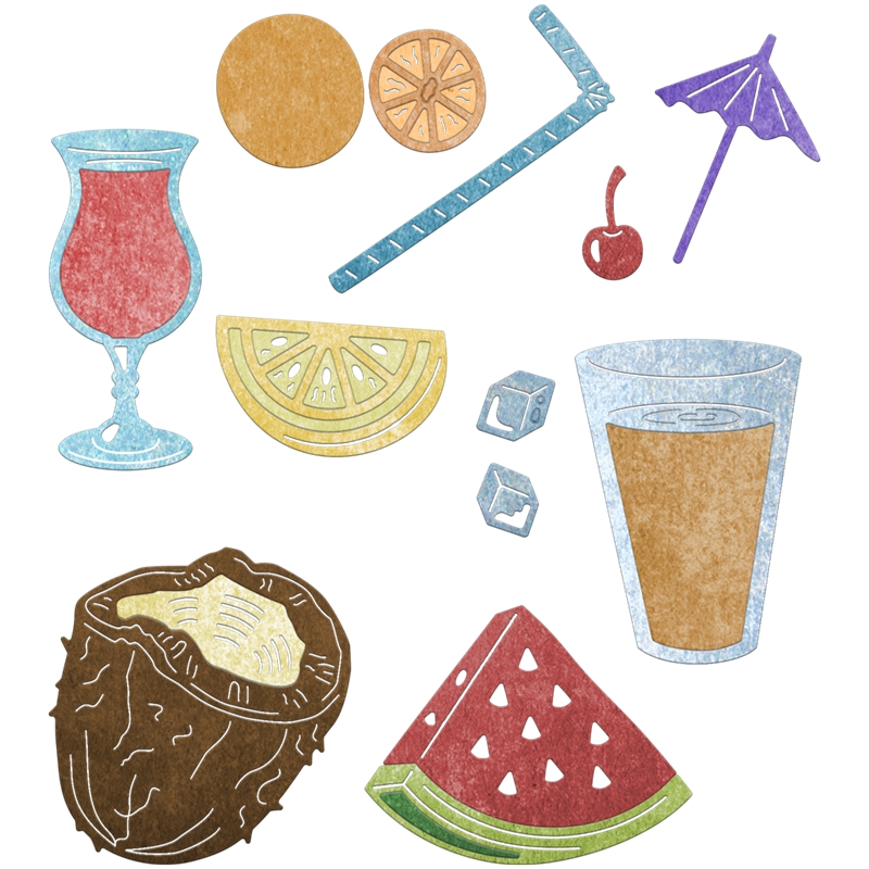 Summer Fruit Drinking Shape Metal Cutting Dies Stencil Scrapbooking Embossing For Paper Card DIY Crafts Tools Model Decorative