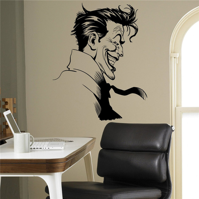Joker Supervillain Wall Vinyl Decal Batman Sticker Superhero Home Decor Ideas Bedroom Kids Room Removable Wall