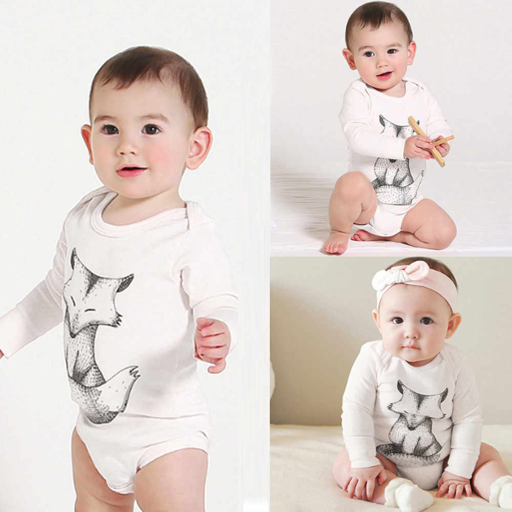 4d590d8db9ab Baby Girl Bodysuits Newborn Infant Cute Baby Girls Boys Soft Fox Print Jumpsuit  Long Sleeve Bodysuit