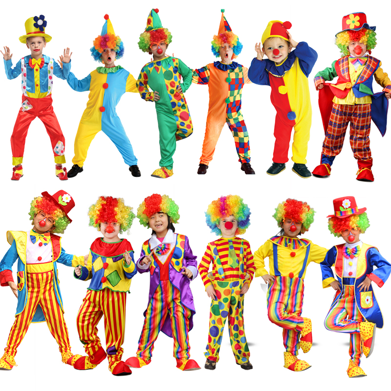 Gratis frakt Variety Funny Clown Costumes Christmas Voksen Boy Girl Joker Kostyme Cospaly Party Dress Up Clown Suit Kostymer