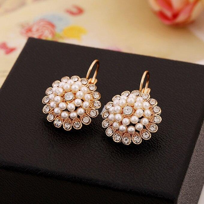 Elegant Wedding Earring For Women Gold color Austrian Crystal Earring Pear Earrings XLL064